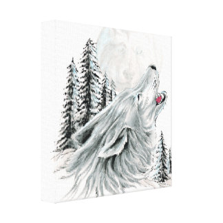 Howling at the Face in the Moon Canvas Print