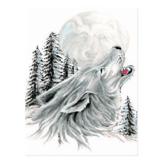 Howling at the Face in the Moon Postcard