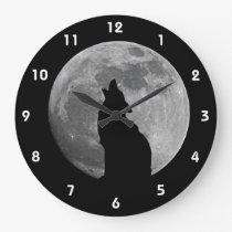 HOWLING AT THE MOON 2 LARGE CLOCK
