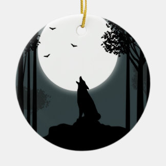 howling at the Moon Christmas Tree Ornaments