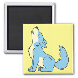 Howling Baby Blue Wolf 2 Inch Square Magnet