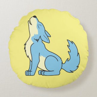 Howling Baby Blue Wolf Round Pillow