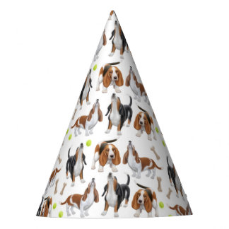 Howling Basset Hound Dogs Party Hat