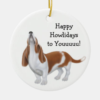 Howling Basset Hound Holiday Ornament