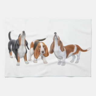Howling Basset Hounds Kitchen Towel at Zazzle