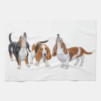 Howling Basset Hounds Kitchen Towel