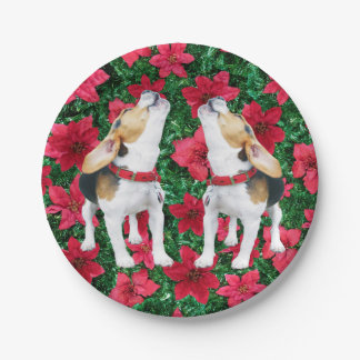 Howling Beagles Poinsettias Christmas Paper Plates 7 Inch Paper Plate
