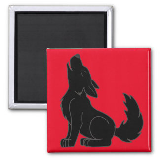 Howling Black Wolf 2 Inch Square Magnet