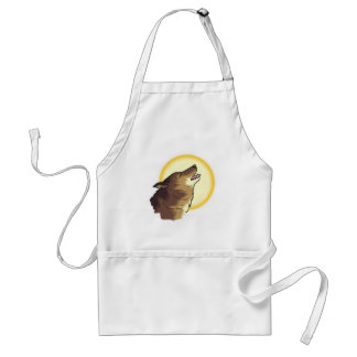 howling brown wolf adult apron