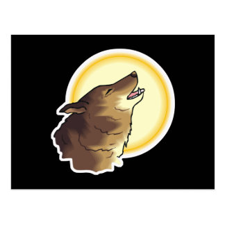 howling brown wolf postcard