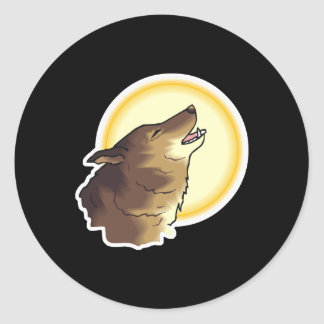 howling brown wolf round stickers