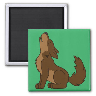Howling Brown Wolf with Natural Markings 2 Inch Square Magnet
