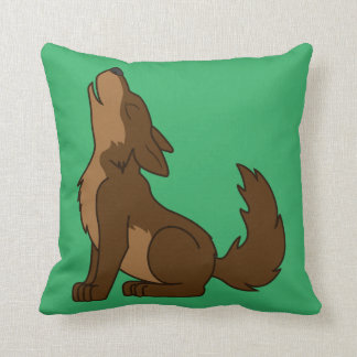 Howling Brown Wolf with Natural Markings Pillows