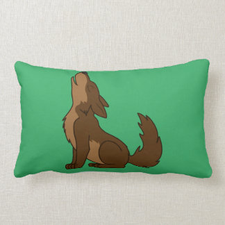 Howling Brown Wolf with Natural Markings Throw Pillows