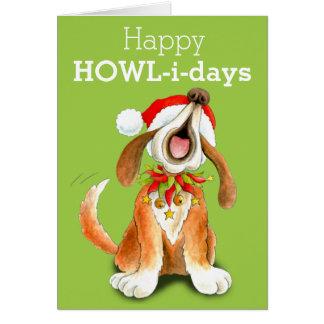 Howling carol singing dog art Christmas card