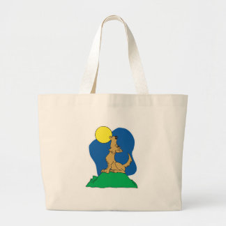 howling coyote cartoon large tote bag