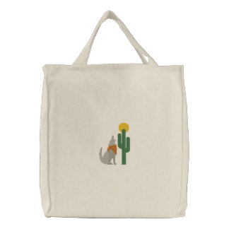 Howling Coyote Embroidered Tote Bag