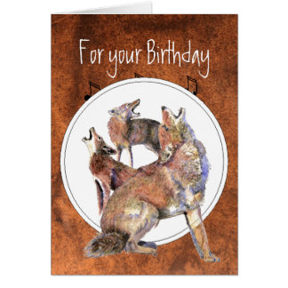 Howling Coyote - Funny Animal  Birthday Stationery Note Card