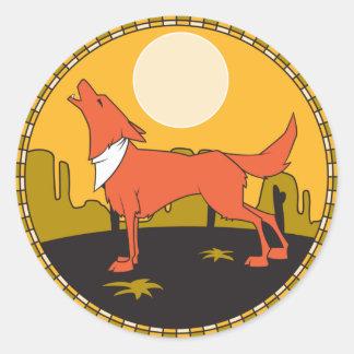 howling coyote scene classic round sticker