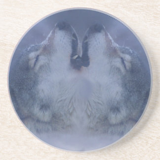 Howling Double Wolves Sandstone Coaster