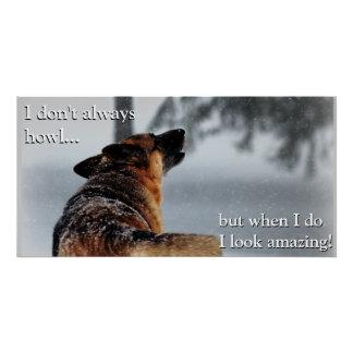 Howling German Shepherd Poster
