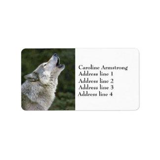 Howling gray wolf photo custom address labels