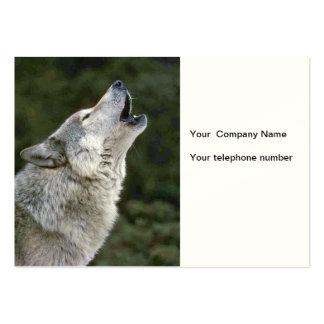 Howling gray wolf photo custom business card