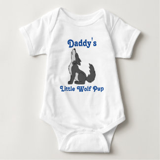 Howling Gray Wolf with Blue Text Baby Bodysuit