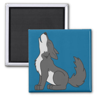 Howling Gray Wolf with Natural Markings 2 Inch Square Magnet
