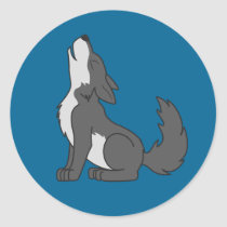 Howling Gray Wolf with Natural Markings Classic Round Sticker