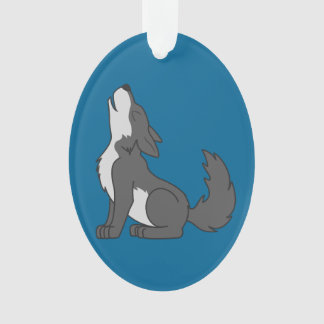 Howling Gray Wolf with Natural Markings Ornament