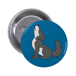 Howling Gray Wolf with Natural Markings Pinback Button