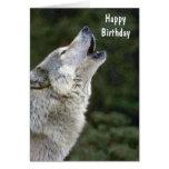 Howling grey wolf beautiful custom birthday card