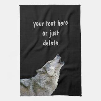 Howling grey wolf beautiful photo portrait custom towel