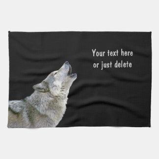 Howling grey wolf beautiful photo portrait, custom towel