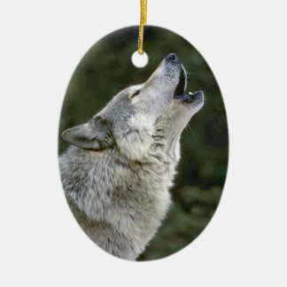 Howling grey wolf beautiful photo portrait, gift ceramic ornament