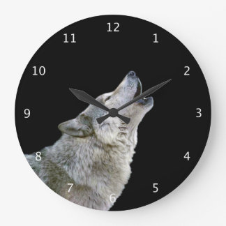 Howling grey wolf beautiful photo portrait, gift wallclock