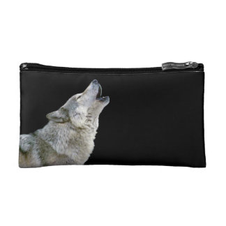 Howling grey wolf beautiful photo portrait, gift cosmetic bag