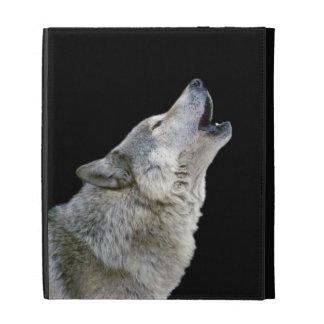Howling grey wolf beautiful photo portrait, gift iPad folio covers