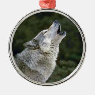 Howling grey wolf beautiful photo portrait, gift metal ornament