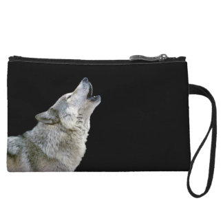 Howling grey wolf beautiful photo portrait, gift wristlet wallet
