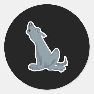 howling grey wolf classic round sticker