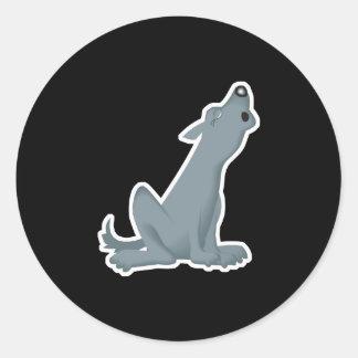 howling grey wolf flip classic round sticker