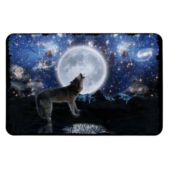 Howling Grey Wolf & Moon Fantasy Art Magnet
