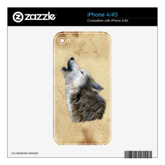 Howling Grey Wolf & Parchment Wildlife iPhone Skin Decal For iPhone 4S
