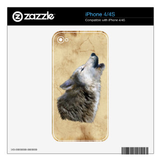 Howling Grey Wolf & Parchment Wildlife iPhone Skin iPhone 4S Skin