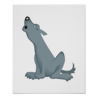 howling grey wolf poster