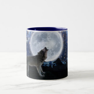 Howling Grey Wolf & Stars Wildlife Drinking Mug