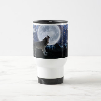 Howling Grey Wolf & Stars Wildlife Travel Mug
