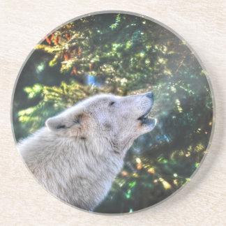 Howling Grey Wolf Wildlife Photo Drink Coaster